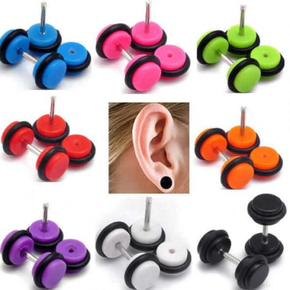 Solid Color Acrylic UV Fake Plugs Faux Ear Plugs