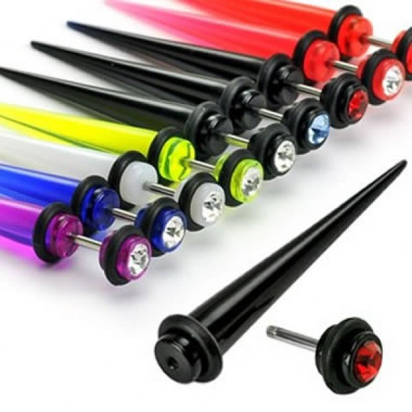 Jeweled Acrylic UV Fake Tapers Faux Ear Plug Tapers