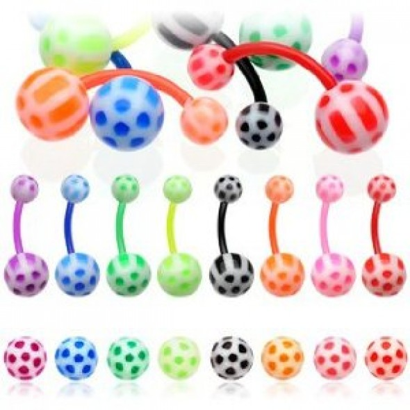 Bioflex Navel Belly Button Rings With Acrylic Soccer Balls