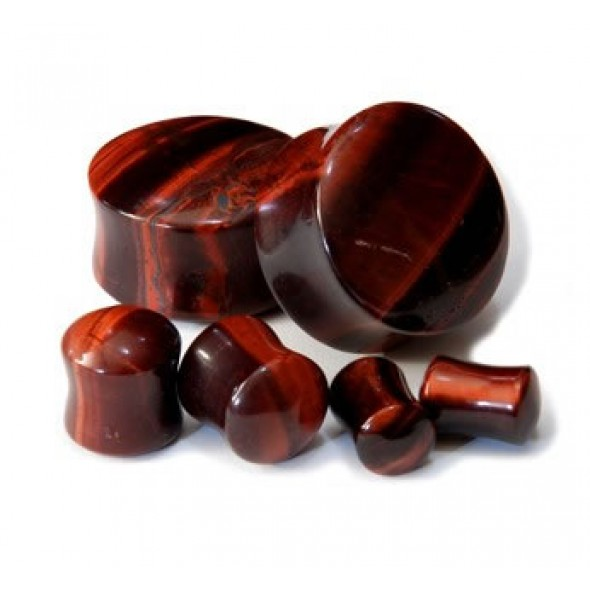 Arc Sides Red Tiger Eye Double Flare Stone Plugs