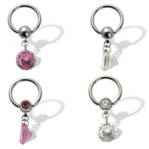 Surgical Steel Captive Bead Rings with Dangle Round CZ
