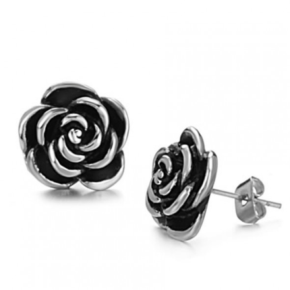 Casting Black Rose Flower Stainless Steel Ear Studs