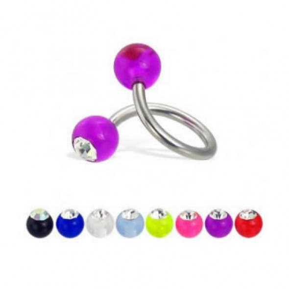 Jeweled Acrylic UV Balls Surgical Steel Sprial / Twister Barbells