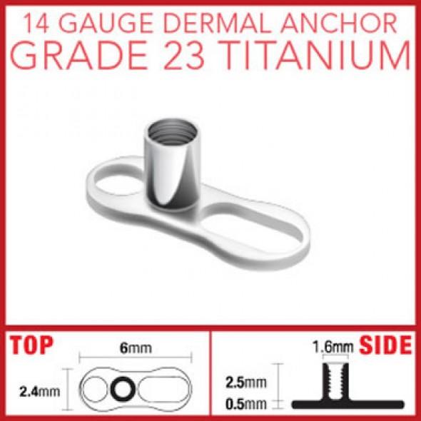 G23 Titanium Dermal Anchor Base Part with 2 Holes