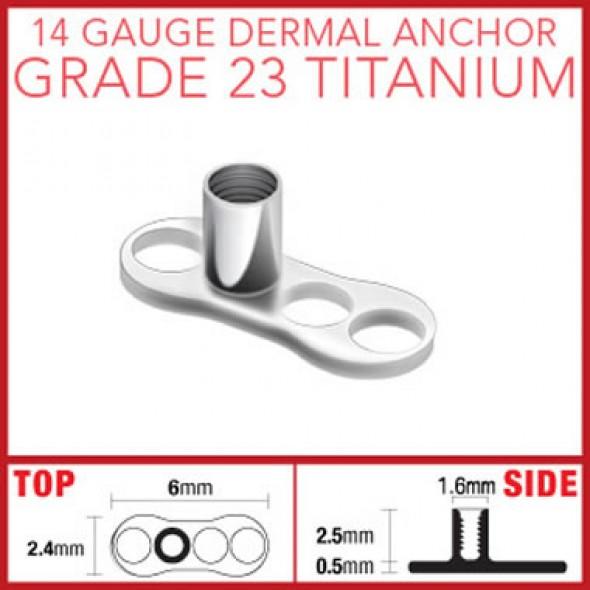 G23 Titanium Dermal Anchor Base Part with 3 Holes
