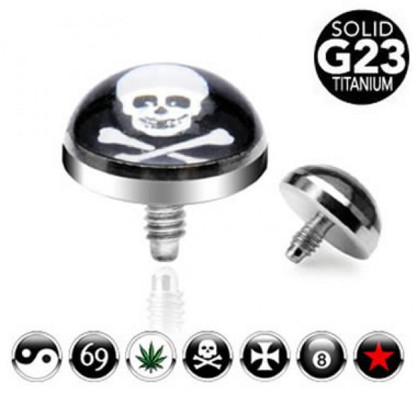 G23 Titanium Internally Threaded Picture Logo Dermal Top Parts