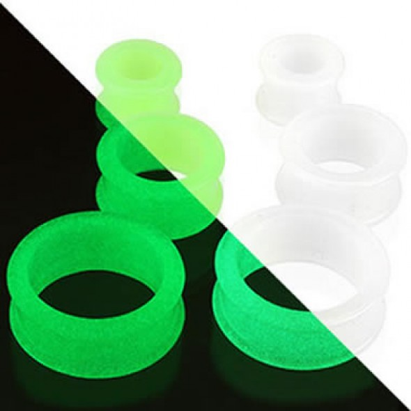 Glow in the Dark Silicone Flesh Tunnels / Eyelets