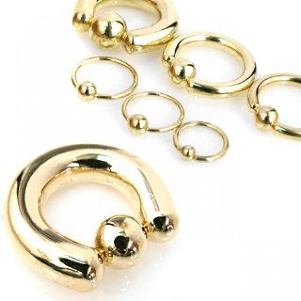 Gold Plated Surgical Steel Captive Bead Rings