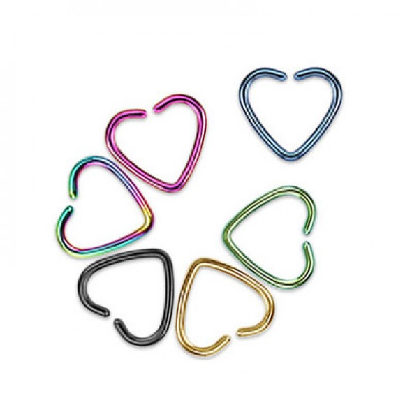 Titanium Anodized Heart Shape Cartilage Tragus Rings