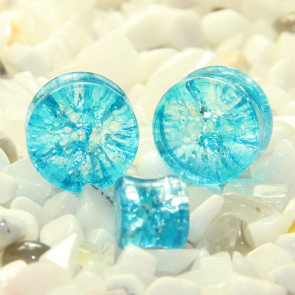 Aqua. Blue Cracked Glass Double Flare Plugs