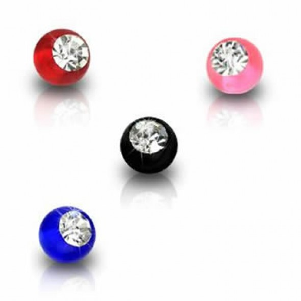 Jeweled Acrylic UV Ball Body Jewelry Parts