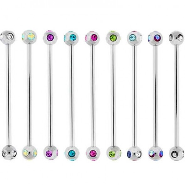 Multi Crystals Ball Surgical Steel Industrial Barbells