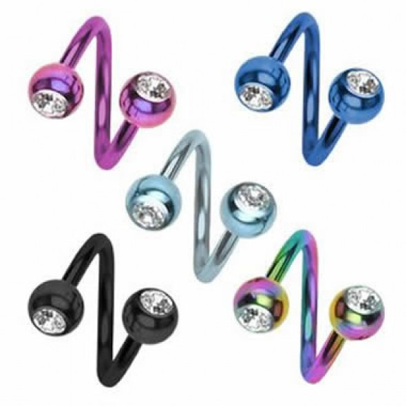 Titanium Anodized Jeweled Surgical Steel Sprial / Twister Barbells