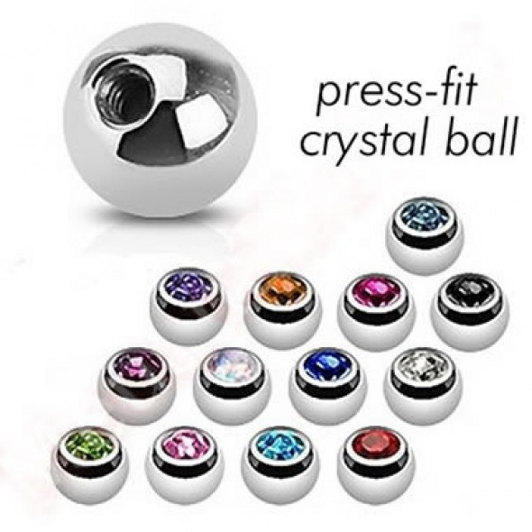 Surgical Steel Press-set Gem Ball Body Jewelry Parts