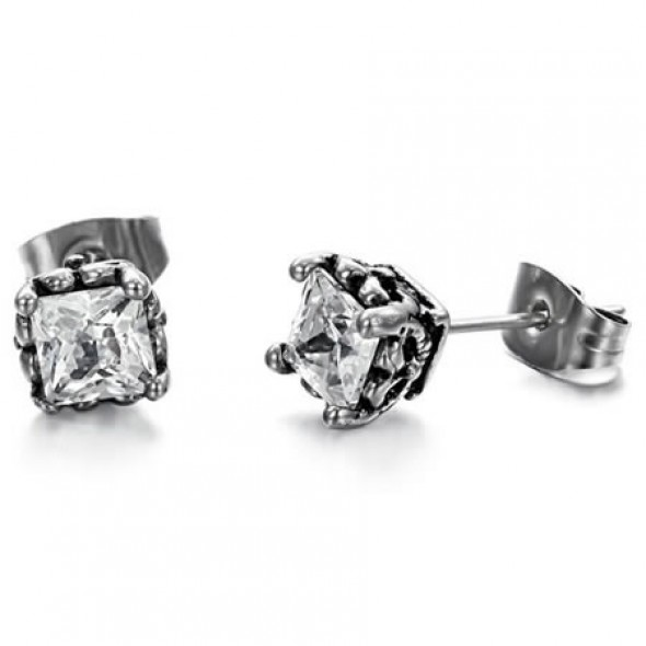Prong Set Square CZ Stainless Steel Ear Studs