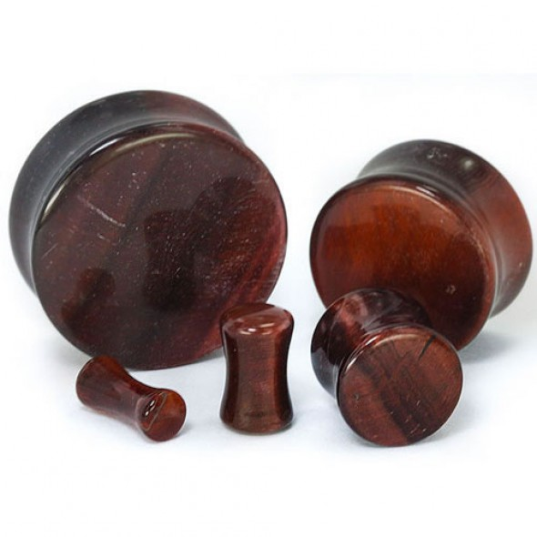 Red Tiger Eye Double Flare Stone Plugs
