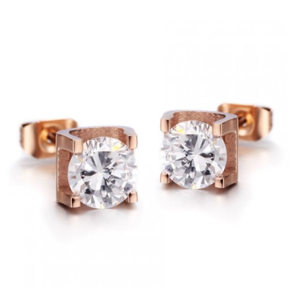 18K Rose Gold Plated Prong set CZ Stainless Steel Ear Studs