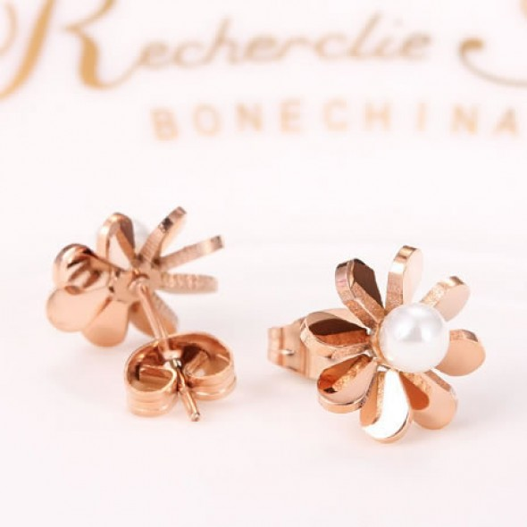 18K Rose Gold Plated Flower Pearl Ball Stainless Steel Ear Studs