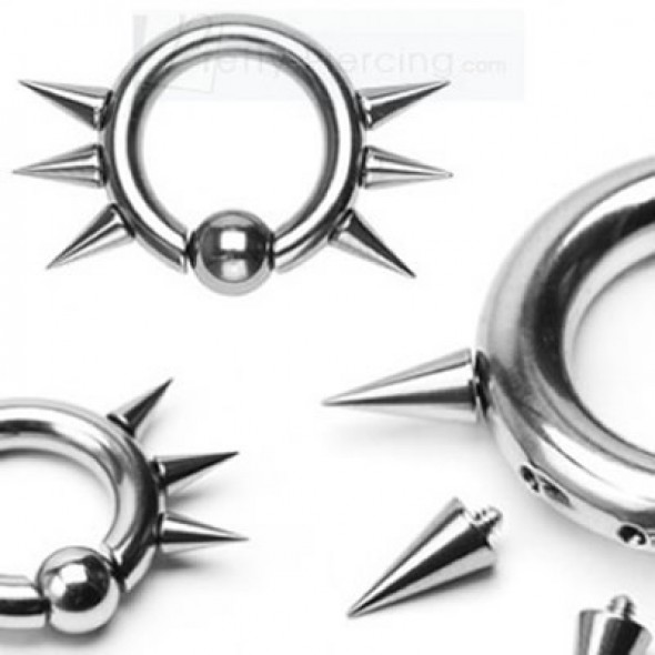 Spikes Surgical Steel Captive Bead Rings