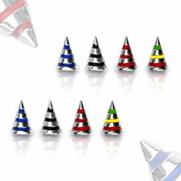 Surgical Steel Striped Color Cone Body Jewelry Parts