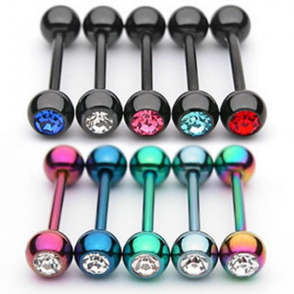 Titanium Anodized Surgical Steel Jeweled Ball Straight Barbells