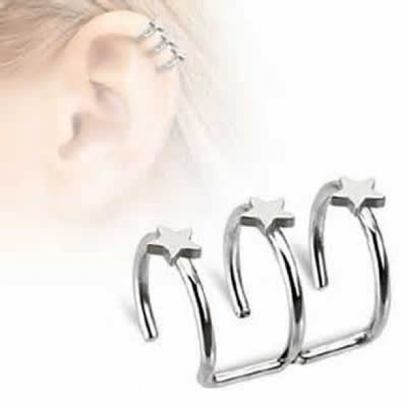 Triple Closure Fake Cartilage Tragus Rings with Cutting Stars