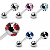 Surgical Steel Straight Barbell with Multi-crystals Ball