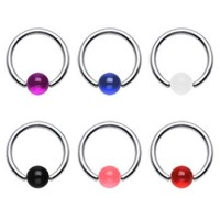 Surgical Steel Captive Bead Rings with Acrylic UV Ball