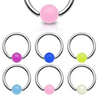 Surgical Steel Captive Bead Rings with Glow-in-dark Acrylic UV Ball