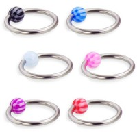 Surgical Steel Captive Bead Rings with Acrylic UV checkered Ball