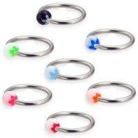 Surgical Steel Captive Bead Rings with Acrylic UV Flower Ball