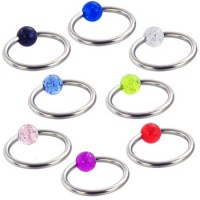 Surgical Steel Ball Closure Rings with Glitter Acrylic UV Ball
