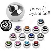 G23 Titanium Press-set Gem Ball Body Jewelry Parts