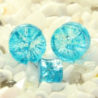 Aqua. Blue Cracked Glass Double Flare Plugs