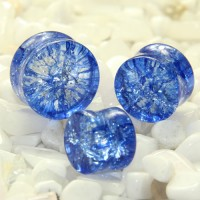 Blue Cracked Glass Double Flare Plugs