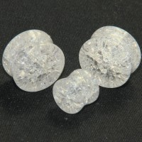 Clear Cracked Glass Double Flare Plugs