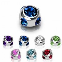 Surgical Steel Multi 7 Crystals Ball Body Jewelry Parts