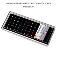 Acrylic Display Tray Pack of 40pcs Assorted Glued Gem Nose Bones