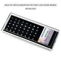 Acrylic Display Tray Pack of 40pcs Assorted Picture Logo Nose Bones