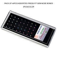 Acrylic Display Tray Pack of 40pcs Assorted Press-fit Gem Nose Bones
