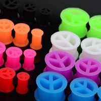 Peace Sign Silicone Flesh Tunnels / Eyelets