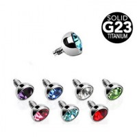 G23 Titanium Internally Threaded Press-set Gem Ball Dermal Top Parts