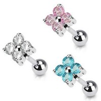 Prong Set 4 Round Cubic Zirconia Tragus Cartilage Straight Barbells