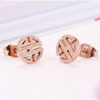 18K Rose Gold Plated Sand Blasting Stainless Steel Ear Studs