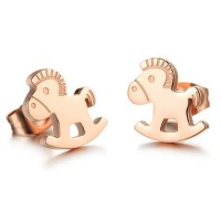 18K Rose Gold Plated Cutting Cockhorse Stainless Steel Ear Studs