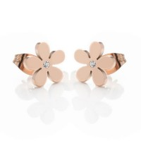 18K Rose Gold Plated Crystal Flower Stainless Steel Ear Studs
