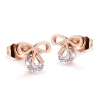 18K Rose Gold Plated Ribbon CZ Stainless Steel Ear Studs