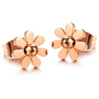 18K Rose Gold Plated Cutting Flower Ball Stainless Steel Ear Studs