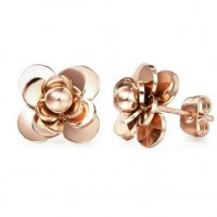 18K Rose Gold Plated Flower Stainless Steel Ear Studs
