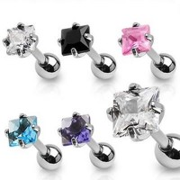 Prong Set Square Cubic Zirconia Tragus Cartilage Straight Barbells
